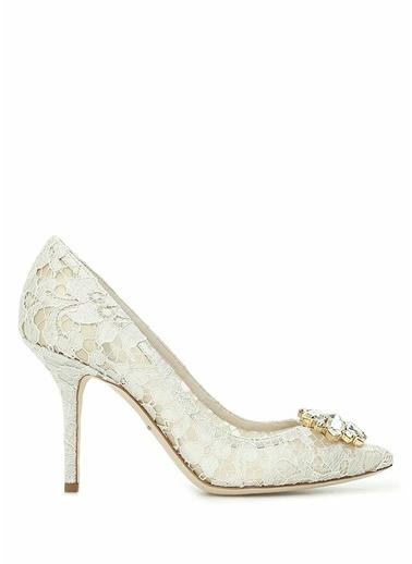 Dolce&Gabbana Dolce&Gabbana  Taşlı Tokalı Dantelli Stiletto 101519372 Krem